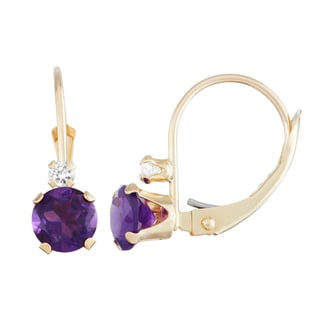 Gioelli 10k Gold Amethyst and White Zircon Leverback Earrings
