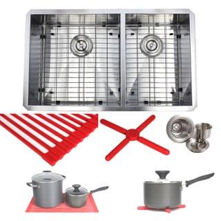 Ariel 32-inch Stainless Steel Double Bowl 60/40 Zero Radius 16 Gauge Undermount Kitchen Sink Complete Combo Accessories