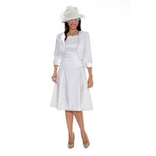 Giovanna Signature Women's Brocade Peplum White 2-piece Jacket Dress