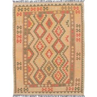 Ecarpetgallery Ivory Wool Hand-Woven Anatolian Kilim Rug (4'10 x 6'5)