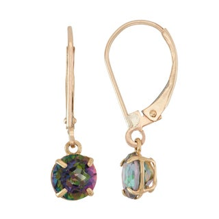 Gioelli 10k Yellow Gold Mystic Topaz Dangle Leverback Earrings