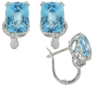 iNatemy 14K White Gold, Blue Topaz and Diamonds Rectangle Shaped Earrings