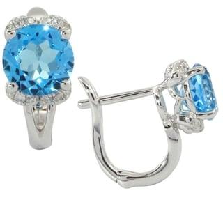 iNatemy 14K White Gold, Precious Stones: Blue Topaz and Diamonds Earrings