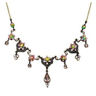 Orly Zeelon Brass, Beige and Green Crystal Necklace with Flowers