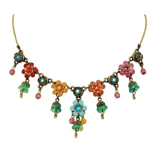 Orly Zeelon Brass, Multicolor Crystal Necklace with Hand Painted Flowers