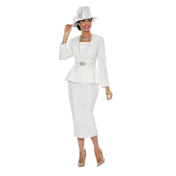 Shop Giovanna Signature Women S Brocade Peplum 3 Piece Skirt Suit
