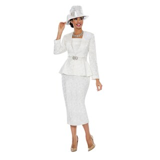 Giovanna Signature Women's Brocade Peplum 3-piece Skirt Suit