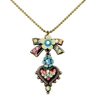 Orly Zeelon Brass, Multicolor Crystal Heart Necklace with Bow Tie