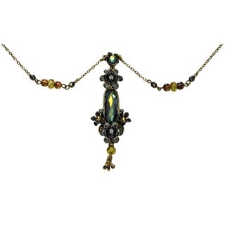 Orly Zeelon Brass, Green, Black, Gold Crystal Necklace with Flowers