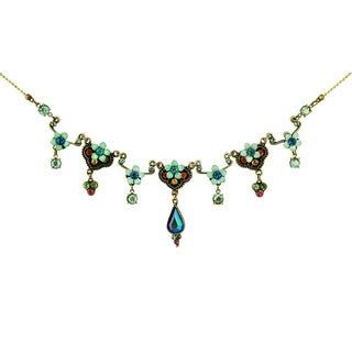 Orly Zeelon Brass, Multicolor Crystal Floral Necklace with Tear Drop