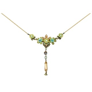 Orly Zeelon Brass, Green, Blue, Beige Crystal Necklace with Flowers