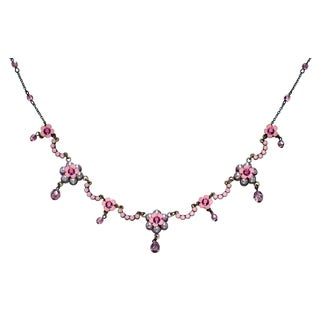 Orly Zeelon Brass, Fuchsia, Pink Crystal Necklace with Suspended Beads