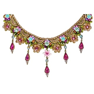 Orly Zeelon Brass, Multicolor Crystal Floral Necklace with Tear Drops