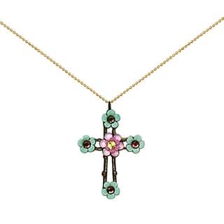 Orly Zeelon Brass, Pink and Green Crystal Floral Cross Necklace