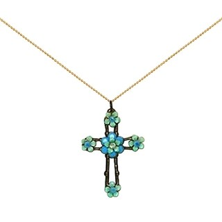 Orly Zeelon Brass, Turquoise and Green Crystal Floral Cross Necklace