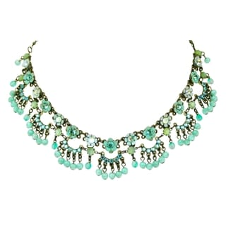 Orly Zeelon Brass, Blue, Turquoise Crystal Floral Necklace with Beads