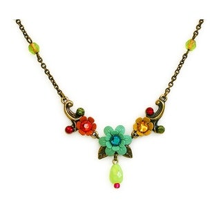 Orly Zeelon Brass, Multicolor Crystal Floral Necklace with Glass Beads