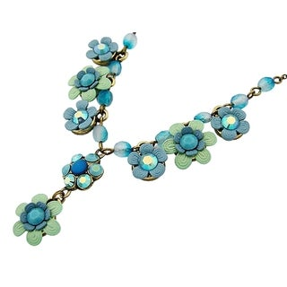 Orly Zeelon Brass, Blue Crystal Necklace with Flowers and Beads