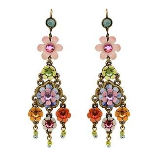 Orly Zeelon Brass, Beige, Purple Crystal Floral Earrings with Beads