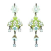 Orly Zeelon Brass, Blue Crystal Earrings with Hand Painted Flowers