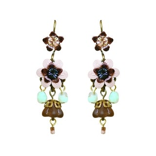 Orly Zeelon Brass, Blue and Beige Crystal Floral Dangle Earrings
