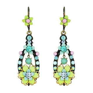 Orly Zeelon Brass, Blue and Pink Crystal Floral Dangle Earrings