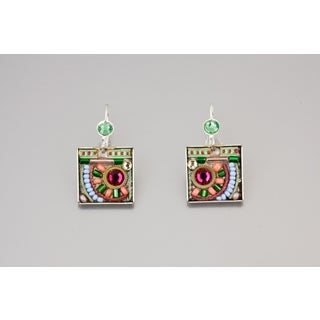 Adaya Coated Brass, Fuchsia, Green, Peach Crystals, Beads Square Earrings