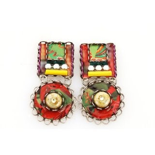 Stacked Square and Circle Dangle Earrings by Adaya Set with Hand Painted Elements, Twisted Cord, Beads and Swarovski Crystals