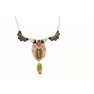 Adaya Tribal Necklace Set with Hand Painted Enameled, Links Crafted with Alpaca, Beads and Sparkling Swarovski Crystals