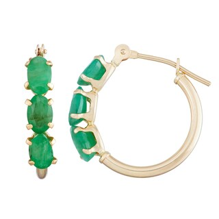Gioelli 10k Yellow Gold Genuine Emerald Hoop Earrings