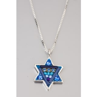 Judaica Star Of David Pendant by Adaya Set with Blue and Purple Beads, Swarovski Crystals, Hand Painted Enamel  Accents