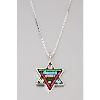 Judaica Star Of David Pendant by Adaya Set with Blue, Pink and Green Beads, Swarovski Crystals, Hand Painted Enamel  Accents