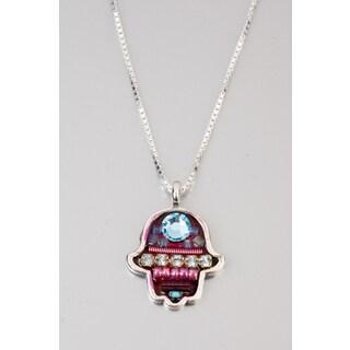 Judaica Hamsa Pendant by Adaya with Fuchsia, Blue Beads & Swarovski Crystals