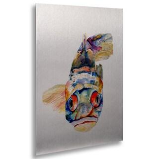 Pat Saunders-White 'Blue Fish' Floating Brushed Aluminum Art