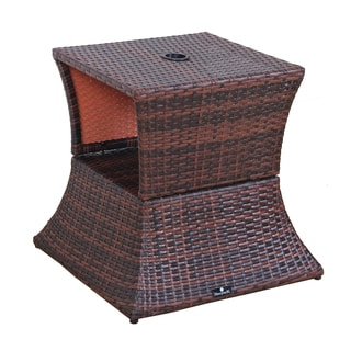BroyerK Brown Rattan Outdoor Patio Table/ Umbrella Stand
