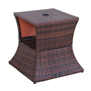 BroyerK Brown Rattan Outdoor Patio Table/ Umbrella Stand
