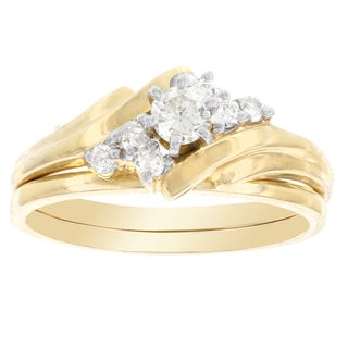 H Star 14k Yellow Gold 1/3ct TDW White Diamond Bridal Set (I-J, I2-I3)