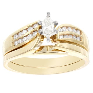H Star 14k Yellow Gold 3/8ct TDW Diamond Marquis Bridal Set (I-J, I2-I3)