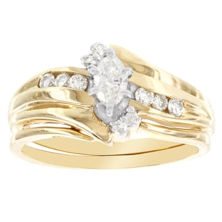 H Star 14k Yellow Gold 1/2ct TDW Diamond Marquis Center Bridal Set (I-J, I2-I3)
