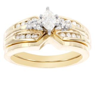 H Star 14k Yellow Gold 1/2ct TDW Diamond Marquis Bridal Set (I-J, I2-I3)