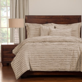 Tattered White Luxury Cotton 6-piece Queen Size Duvet Cover Set with Duvet Insert in Almond (As Is Item)