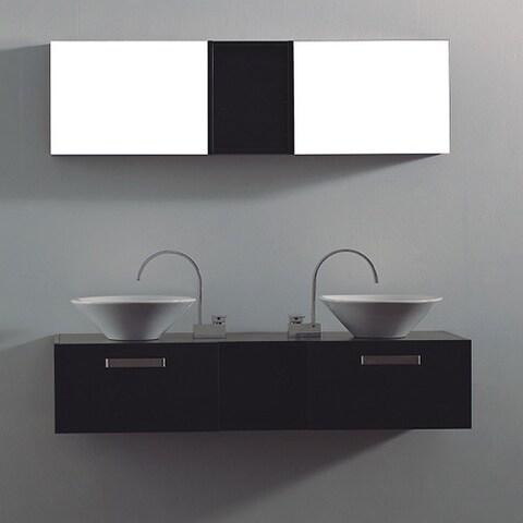 Vitalia Modern Black 3-Piece Double Bathroom Vanity Set with Mirror