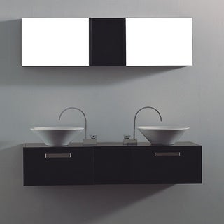 Vitalia Modern Black 3-Piece Double Bathroom Vanity Set with Mirror