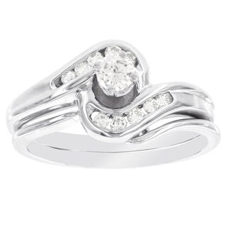 H Star 14k White Gold 1/3ct TDW Diamond Bridal Set (I-J, I2-I3)