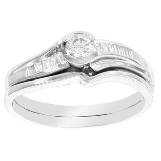 H Star 10k White Gold 1/3ct TDW Diamond Bridal Set (I-J, I2-I3)