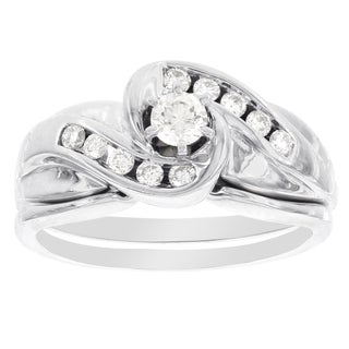 H Star 14k White Gold 3/8ct TDW Diamond Bridal Set (I-J, I2-I3)