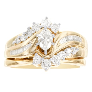 H Star 14k Yellow Gold 1ct TDW Diamond Marquis Bridal Set (I-J, I2-I3)