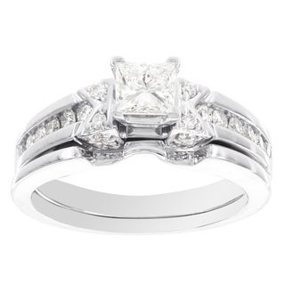 H Star 14k White Gold 7/8ct White Diamond Princess Bridal Set (I-J, I2-I3)