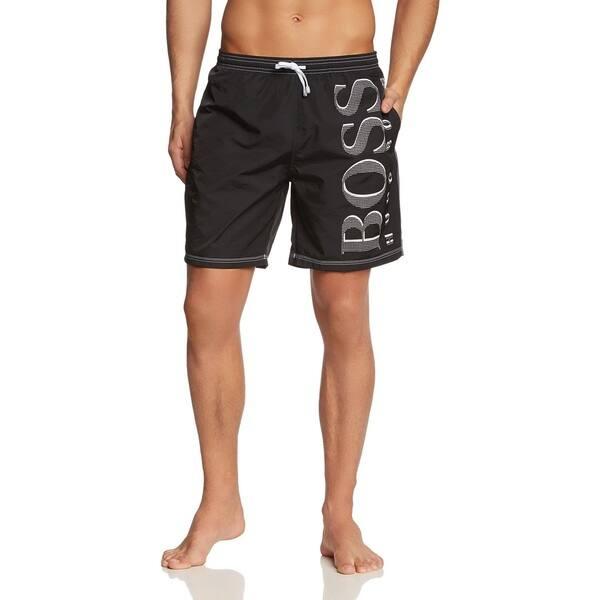 e9f39fc3c5 Shop Hugo Boss Men's Killifish Black Logo Swim Trunks - Free ...