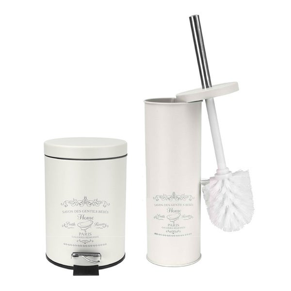 Paris Collection Toilet Brush and Wastebasket Set in Cream
